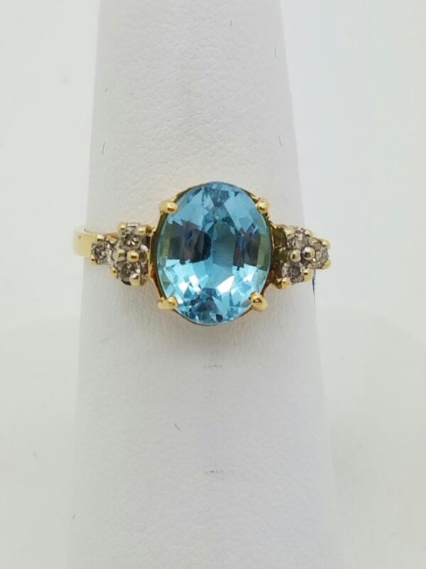BLUE STONE(S) Blue Stone Lady's Stone & Diamond Ring 6 Diamonds .06 Carat T.W.
