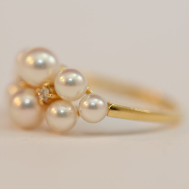 18K Yellow Gold Cluster Pearl and Diamond Ring Size 5.75