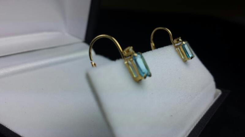Estate Emerald Cut Blue Topaz 2 Round Diamond Yellow Gold Earrings 14k YG
