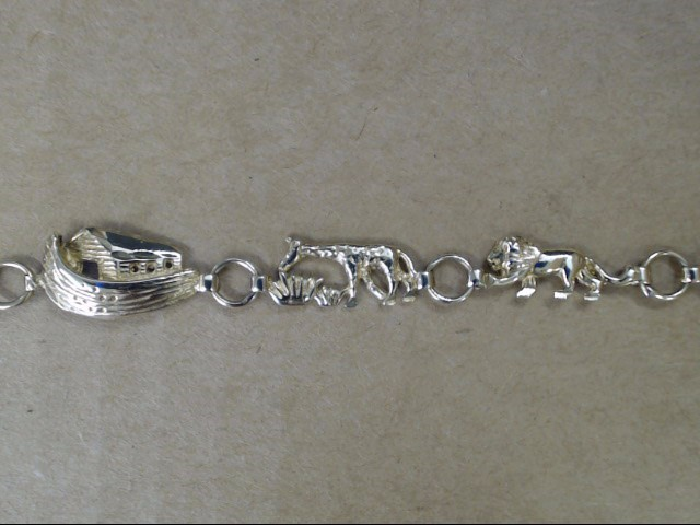 VINTAGE NOAH ARK BRACELET SOLID REAL 10K GOLD CHRISTIAN BIBLE ANIMAL
