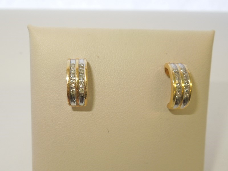 Gold-Diamond Earrings 20 Diamonds .40 Carat T.W. 14K Yellow Gold 2.5g