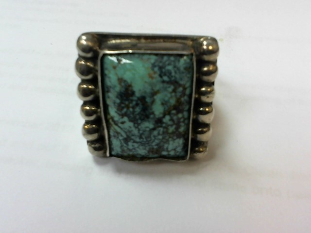 Turquoise Gent's Silver & Stone Ring 925 Silver 28g