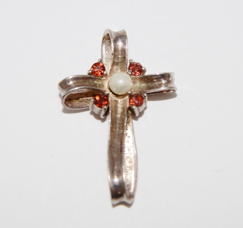 Sterling Silver Orange Stone & Pearl Ribbon Cross Pendant