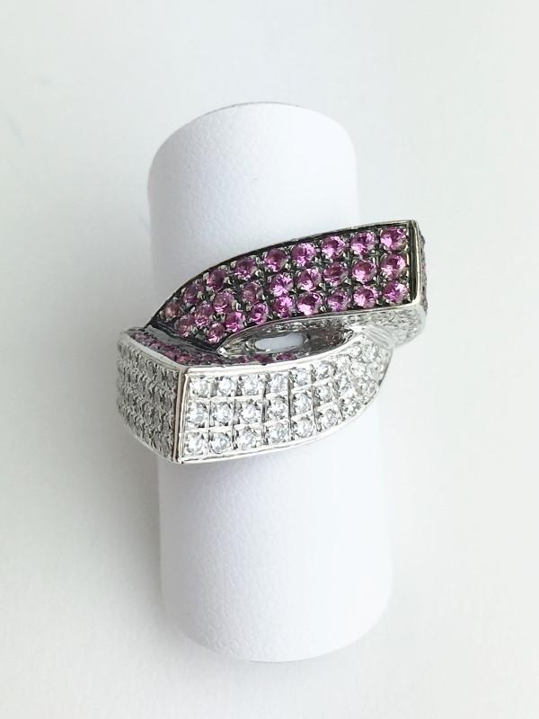 Pink Sapphire & Diamond Ring 111 Diamonds 1.11 Carat T.W.