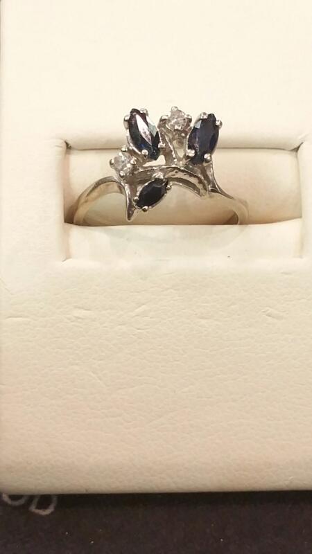 Blue Stone Lady's Stone Ring 10K White Gold 1.2dwt