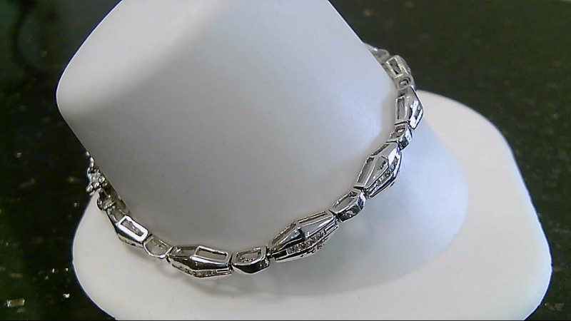 "7""  Gold Bracelet 48 Diamonds .48 CTTW 14K White Gold 11.3g"