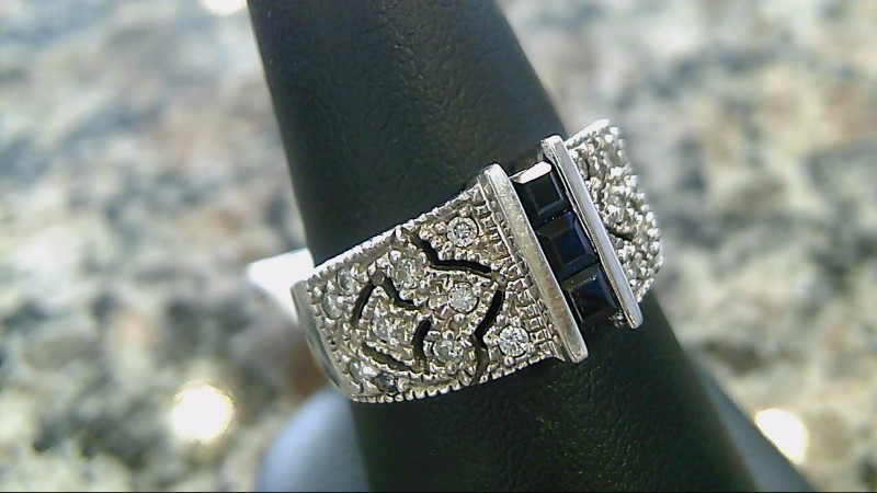 Sapphire Lady's Stone & Diamond Ring 14K White Gold