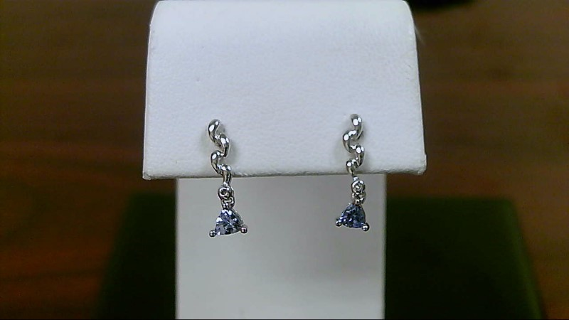 Tanzanite Gold-Stone Earrings 14K White Gold 1.3g