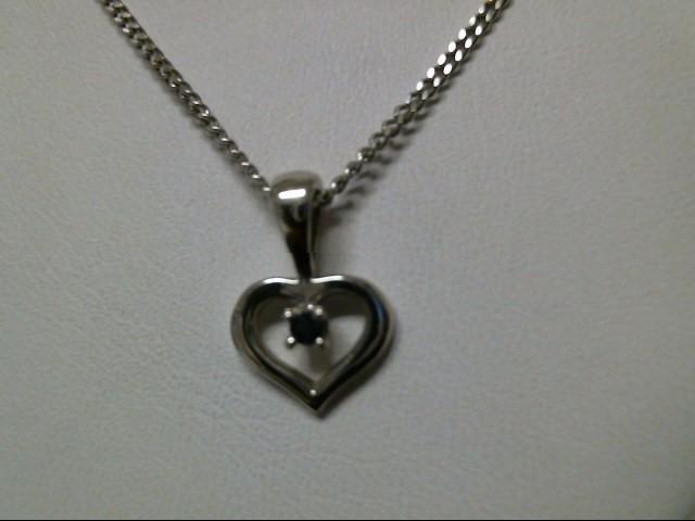 "18"" Blue Stone Stone Necklace 14K White Gold 3g"