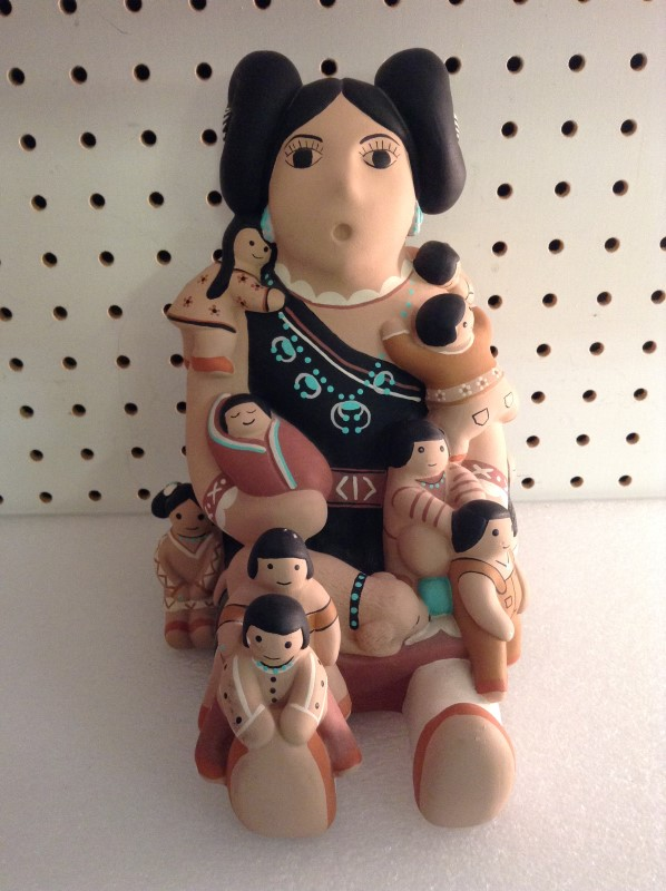 TEISSEDRE Glass/Pottery STORYTELLER DOLL POTTERY NATIVE AMERICAN