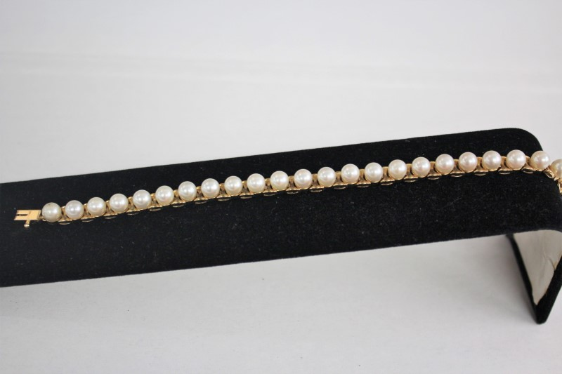 Pearl Gold-Stone Bracelet 14K Yellow Gold 14.3g