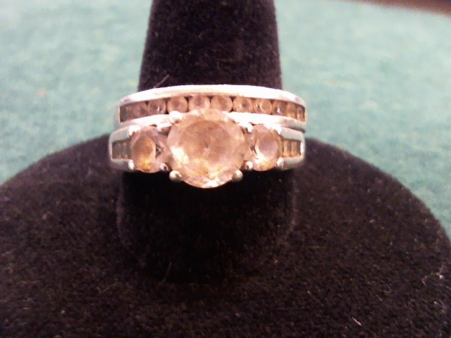 Synthetic Cubic Zirconia Lady's Silver & Stone Ring 925 Silver 6.6g Size:7
