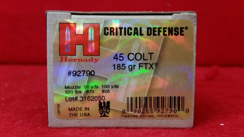 Hornady 45 Colt 185gr FTX Critical Defense Ammo #92790