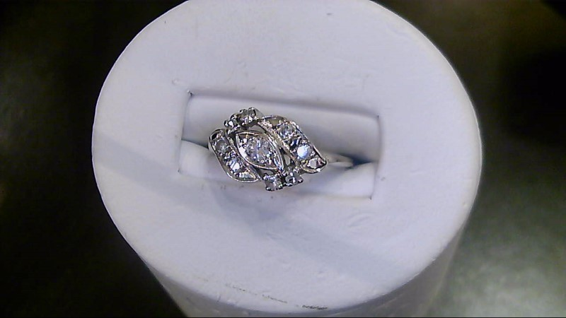 Lady's Diamond Cluster Ring 9 Diamonds .14 Carat T.W. 10K White Gold 3.3g