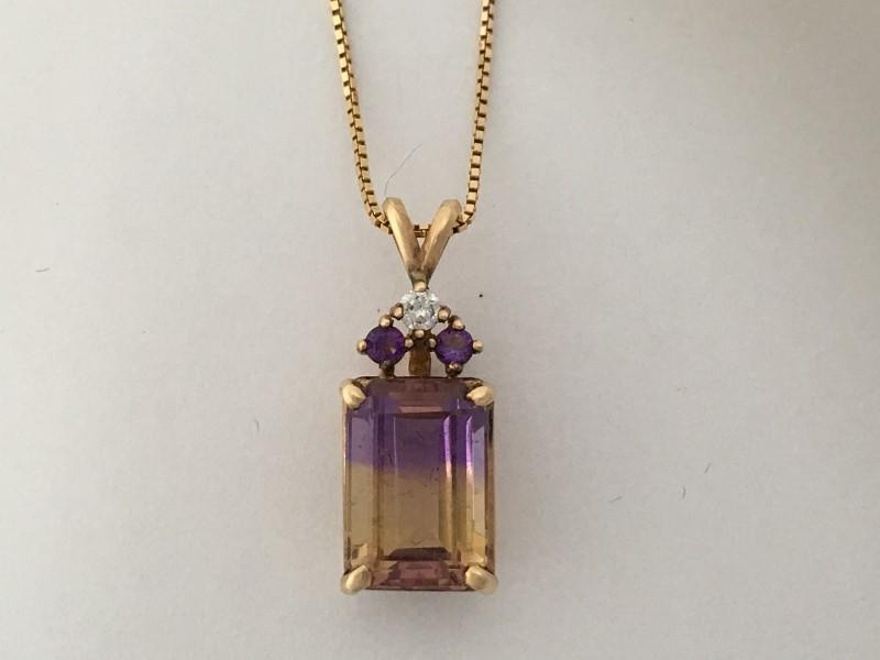 "24"" Synthetic Ametrine Diamond & Stone Necklace,14K Yellow Gold, 6.4g"