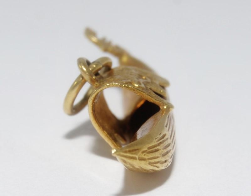 18K Yellow Gold Venetian Covered Gondola Charm/Pendant