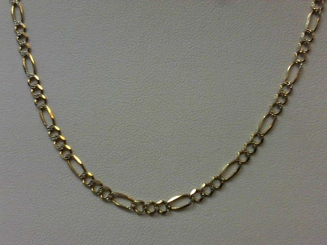 "22"" Gold Figaro Chain 14K 2 Tone Gold 7.6g"