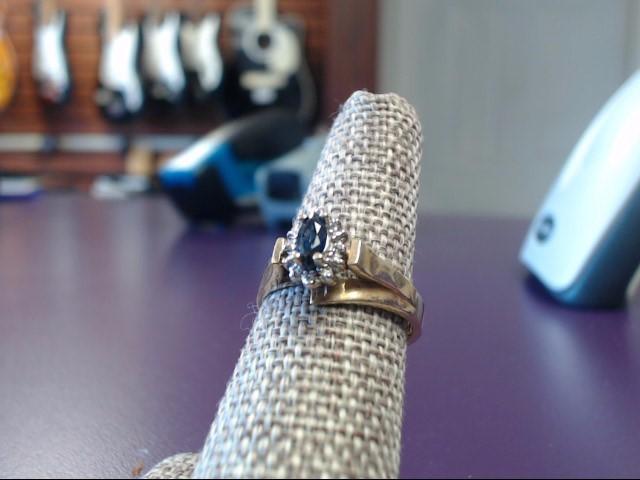 Sapphire Lady's Stone & Diamond Ring 6 Diamonds .06 Carat T.W. 10K Yellow Gold