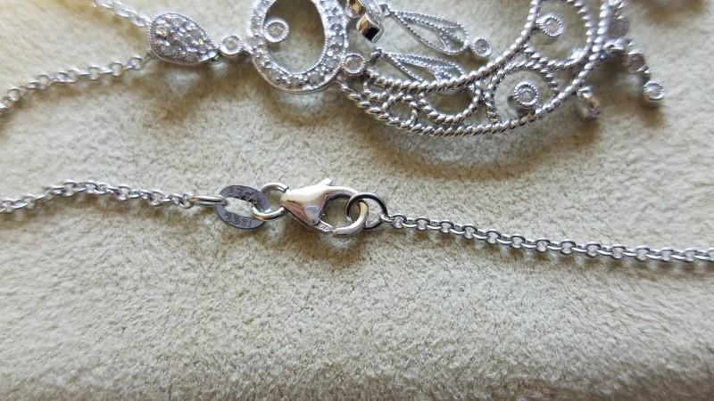 Turkish .58 TCW Diamond Necklace on Chain Link 18K White Gold