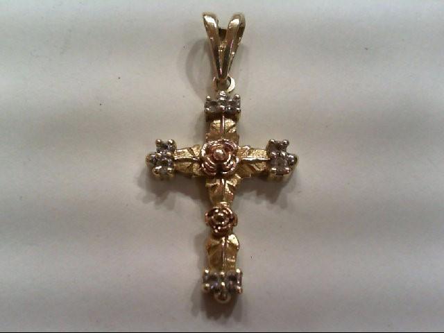 Gold-Multi-Diamond Pendant 8 Diamonds .40 Carat T.W. 14K 2 Tone Gold 4.4g
