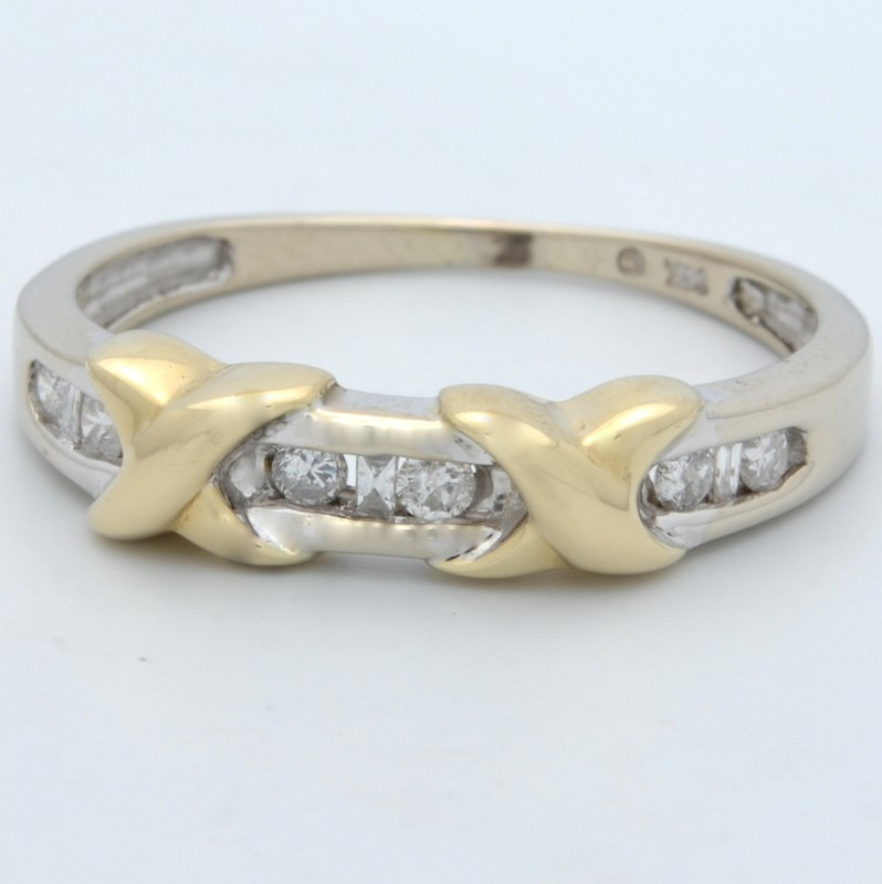 ESTATE DIAMOND RING BAND SOLID 14K GOLD 2 TONE WHITE ANNIVERSARY 7.5