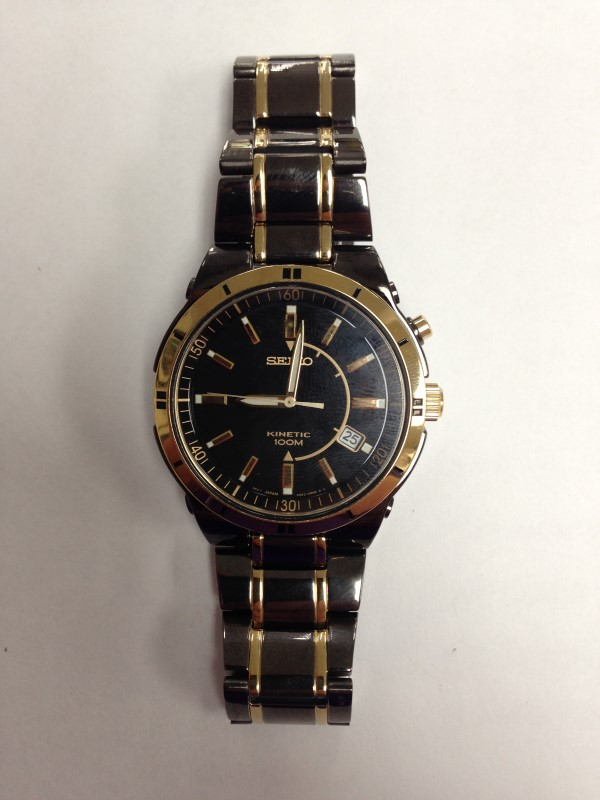 SEIKO MENS KINETIC TWO-TONE BLACK/GOLD