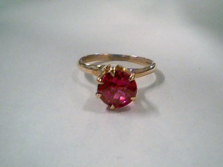 Pink Stone Lady's Stone Ring 10K Yellow Gold 2.3g Size:5.5