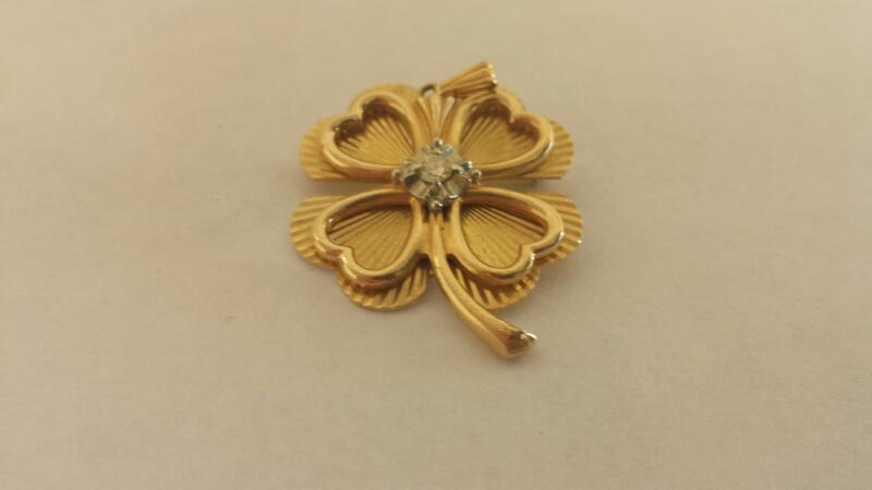 Gold 14K 4-Leaf Clover Pendant/Broach 1-Dia .10ct