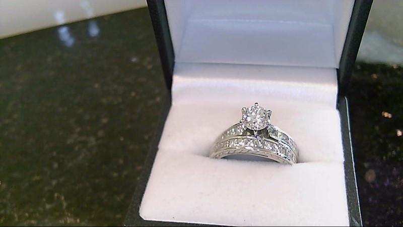 Graded G-SI2 Center 14K White Gold Diamond Wedding Ring Set 9.1G