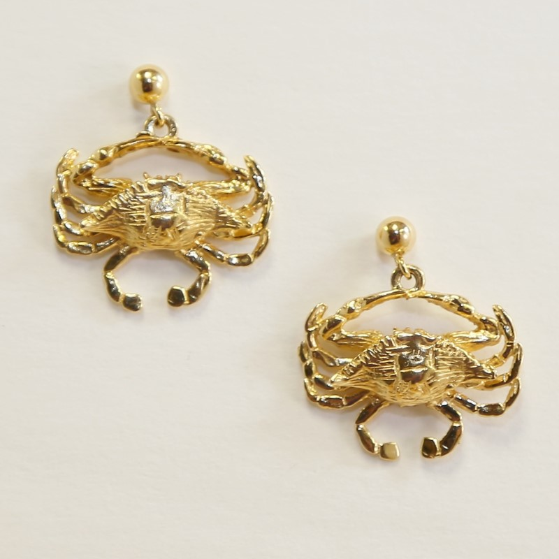 14KT YELLOW GOLD CRAB EARRINGS
