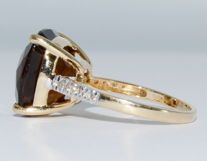 14K Yellow Gold Multi-Faceted Smokey Topaz & Diamond Cocktail Ring Size 7