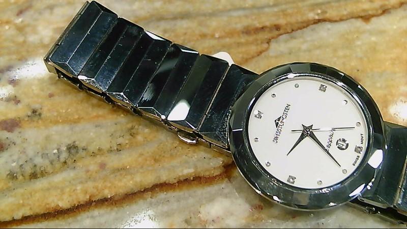 Swiss Watches Mens Swiss Tungsten Diamond White Dial Watch