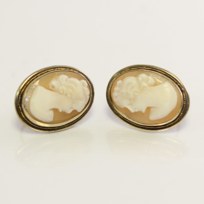 Gold-Stone Cameo Earrings with Screw Backs