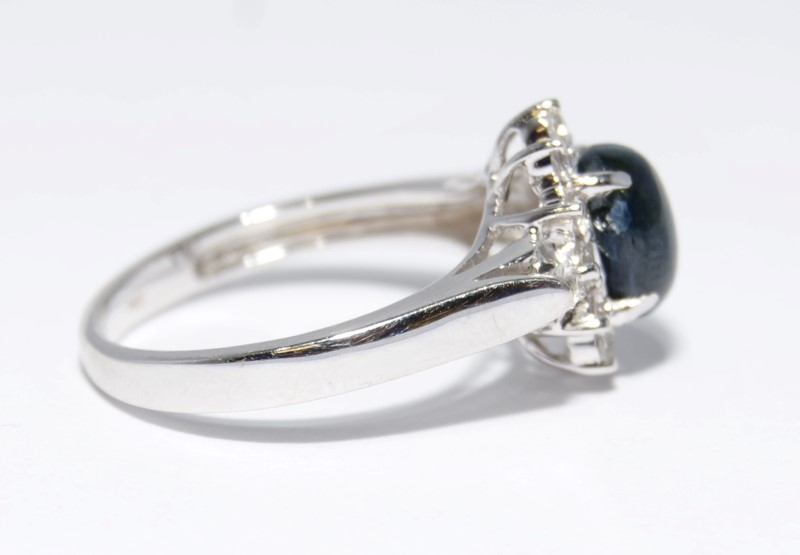 14K White Gold Dark Blue Star Sapphire Halo Ring Size: 7