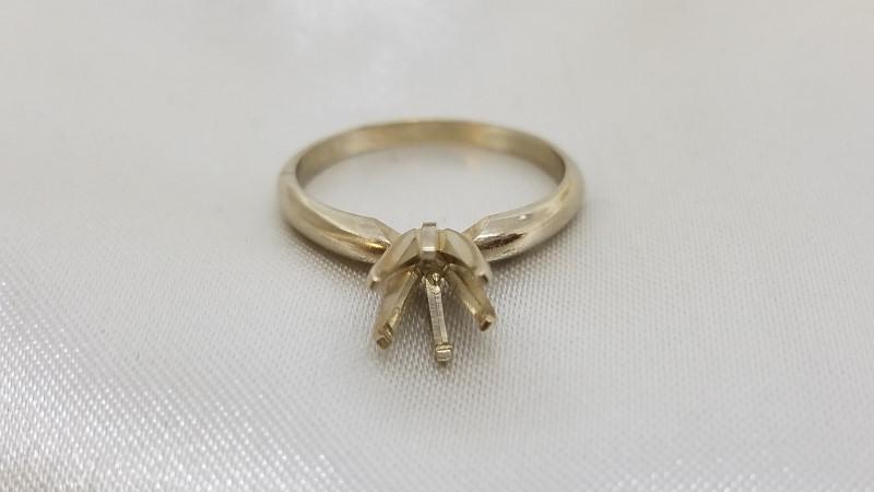 Lady's Gold Ring Mount 14K White Gold 2.3g Size:6.5