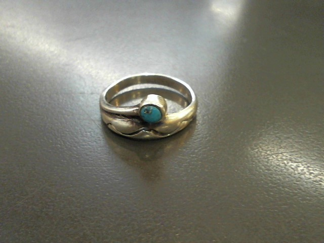 Synthetic Turquoise Lady's Silver & Stone Ring 925 Silver 2.8g Size:8