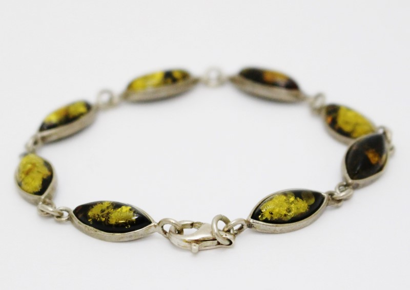 """7"""" Sterling Silver Marquise Yellow Amber Chain Link Bracelet"""