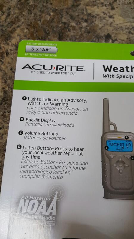 Acu-Rite 08550W1 Portable Weather Alert NOAA Radio With S.A.M.E.