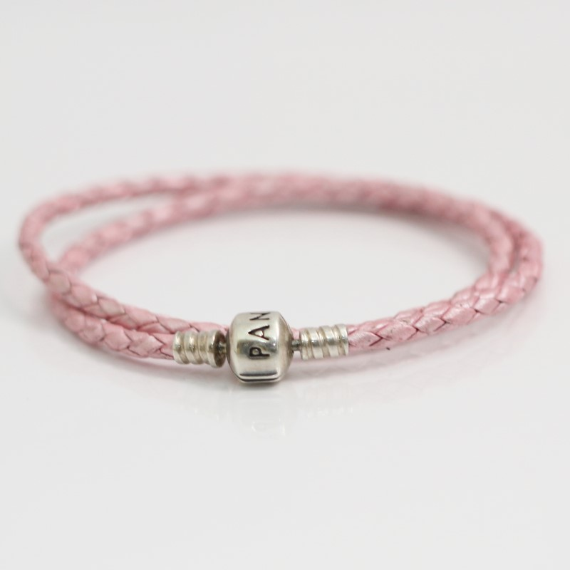 PANDORA PINK, DOUBLE LEATHER BRACELET WITH BARREL SILVER CLASP
