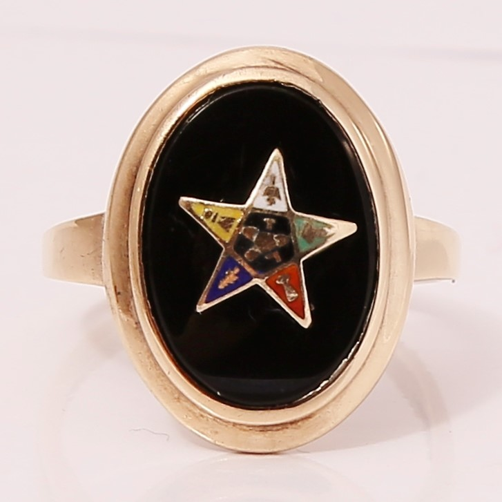 Masonic 10K Yellow Gold Black Onyx Eastern Star Ring Size 5