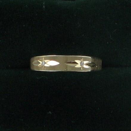 Lady's Diamond Fashion Ring 2 Diamonds .04 Carat T.W. 18K Yellow Gold 2.6dwt