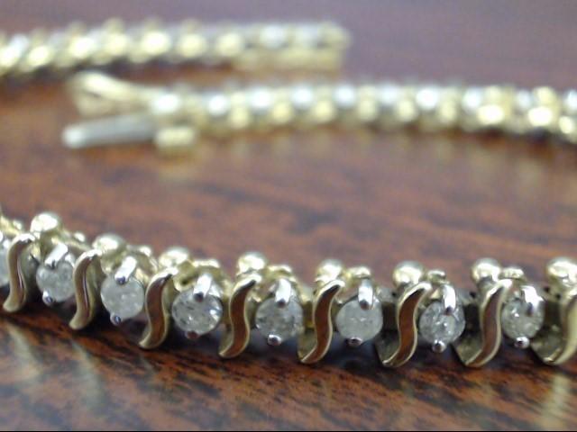 """VINTAGE 49 NATURAL DIAMOND TENNIS BRACELET SOLID 10K GOLD 8.8g 7"""""""