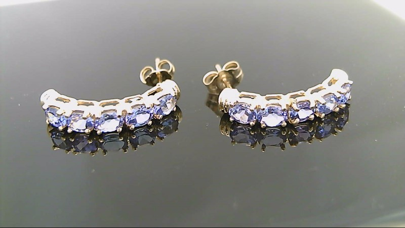 Genuine Tanzanite Gold Stone Earrings 14K Yellow Gold 2.8g
