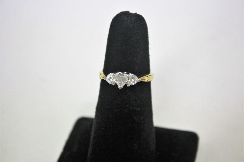 Lady's Diamond Fashion Ring 3 Diamonds .92 Carat T.W. 18K Yellow Gold 5.3g