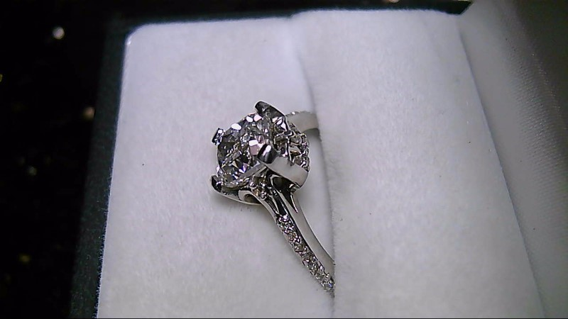 Graded F VS 1 Cushion Cut Diamond 14K White Gold Wedding Ring