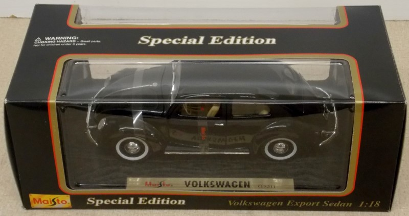 MAISTO SPECIAL EDITION 1951 VOLKSWAGEN EXPORT SEDAN, 1:18 DIECAST MODEL, BLACK