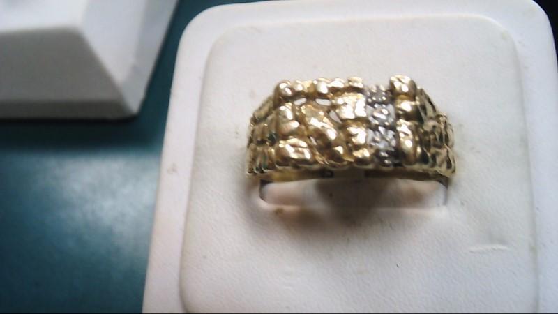 Gent's Diamond Fashion Ring 3 Diamonds .03 Carat T.W. 10K Yellow Gold 4.1g