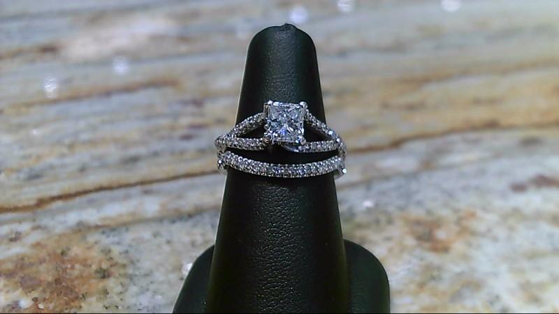 Lady's Diamond Wedding Set princess cut center 1.02ct  2cttw 14K White Gold 6.9g