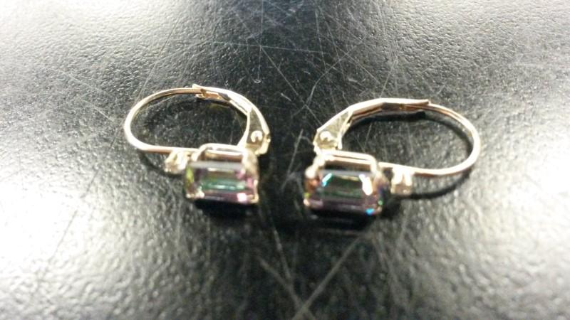 GEMSTONE Synthetic Alexandrite Gold-Stone Earrings 14K Yellow Gold 0.6dwt