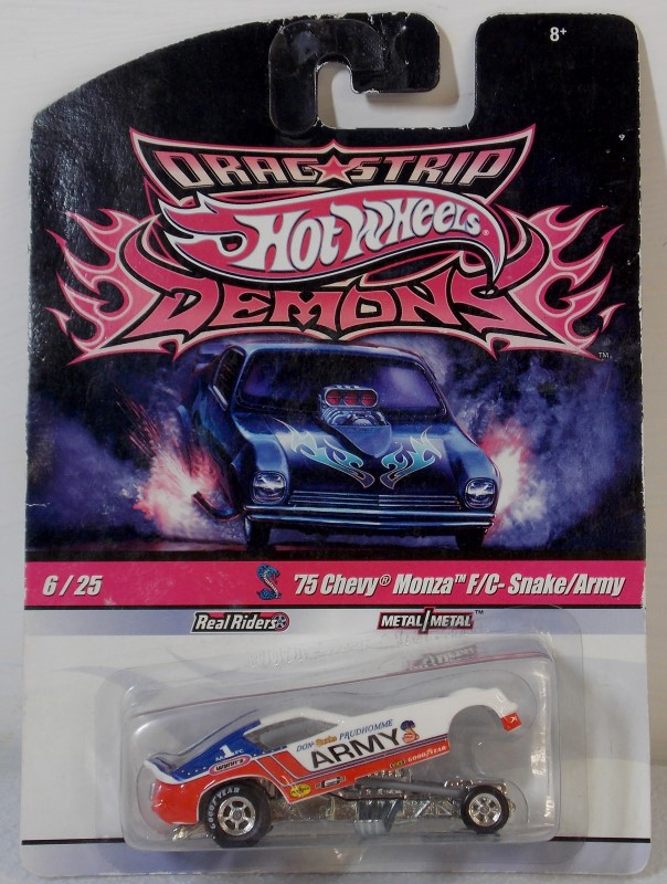HOT WHEELS DRAG STRIP DEMONS: '75 CHEVY MONZA F/C- SNAKE/ARMY, 6/25